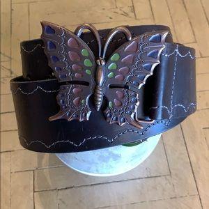 Linea Pelle Butterfly Leather Dark Brown Belt L